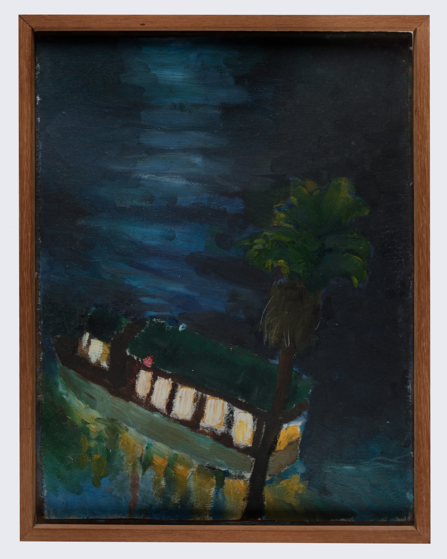 Oil painting of dark harbour scene with lit up ferry on water.