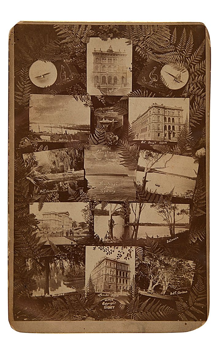 Hemus's card is a collage of photographic view of Sydney buildings and harbor scenes, intertwined with ferns.