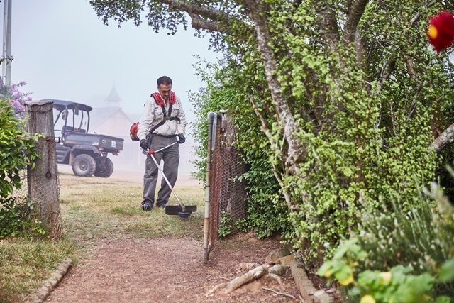 Photograph of a man using a whipper-snipper in the garden at Rouse Hill House & Farm