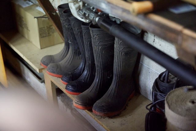 Photograph of gumboots in the garden shed at Vaucluse House