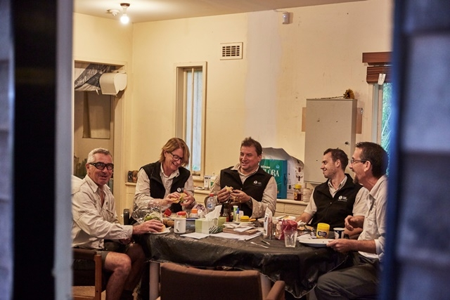 Photograph of the SLM gardens team eating morning tea in the break room