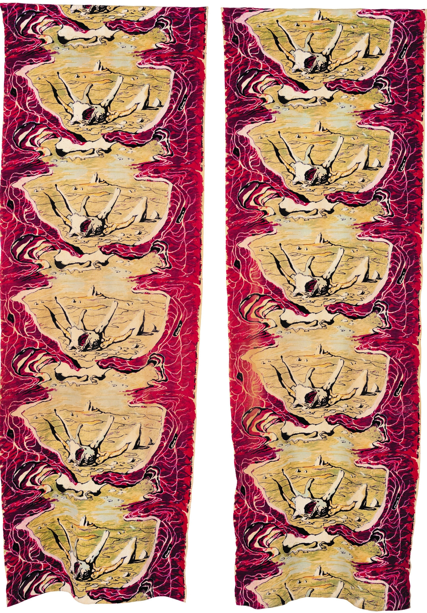 Pair of red curtains with central rock and tree motif.