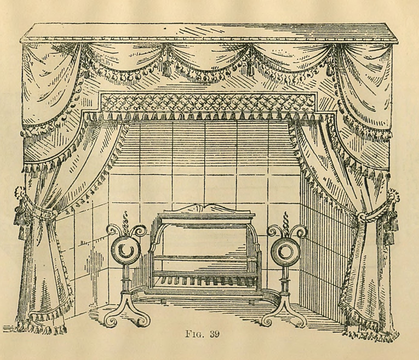Example of fireplace drapery