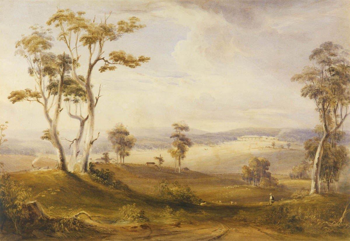 Picturesque view of open grazing country with scattered tall trees and a broad single storey homestead perched on a hill in the distance with smoke coming from a chimney. There is a shepherd in the foreground overseeing a small number of sheep.