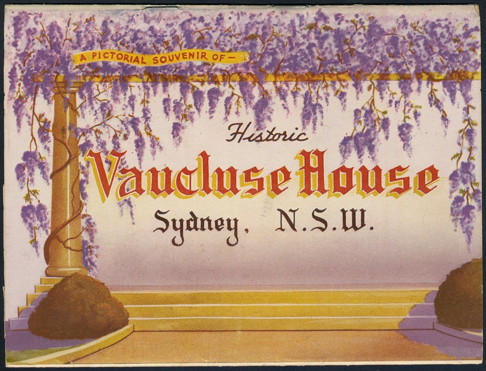 Cover of an old souvenir booklet with a wisteria border