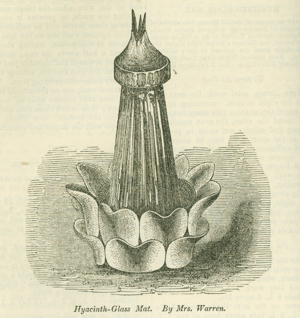 Printed illustration of ornate jar on a flower shaped mat.
