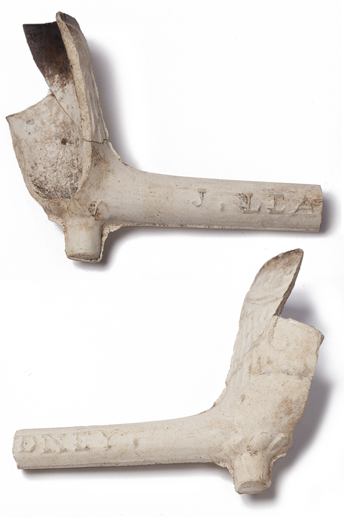 Composite image of a clay pipe with a broken bowl, viewed from both sides