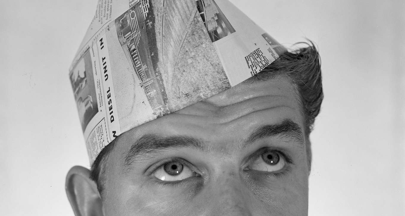 Man with paper hat