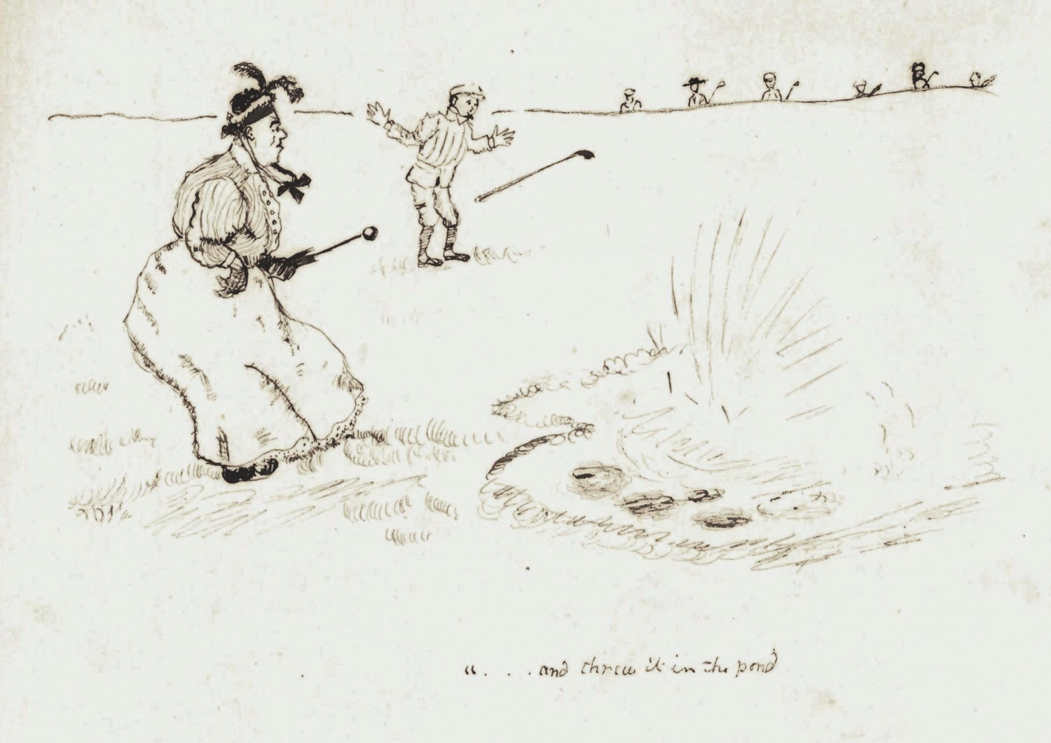 Sketch of golfers looking into pond.