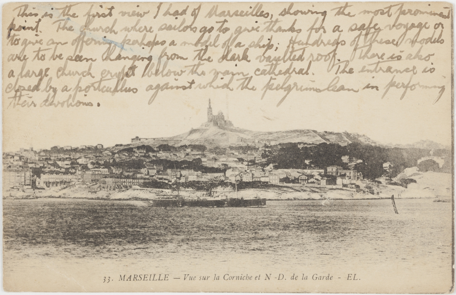 Handwriting on card with image below.