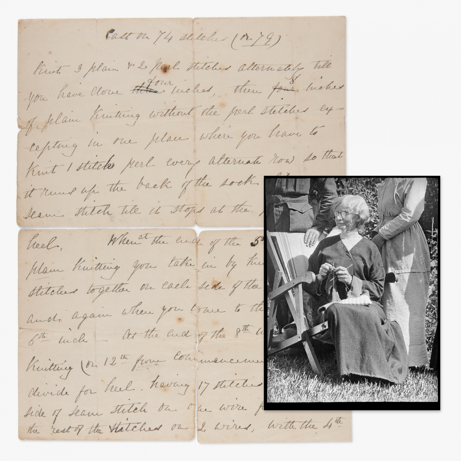 Handwritten letter overlaid with black and white photograph.