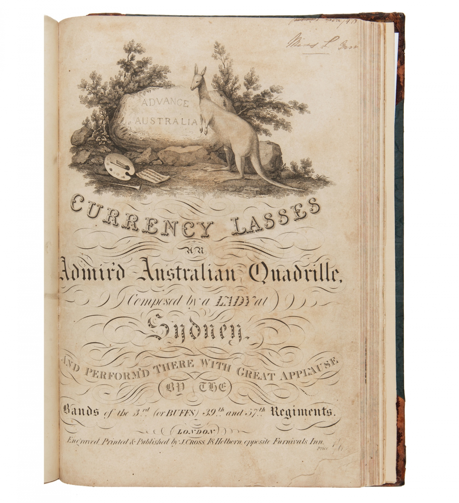 Cover page of 'Currency lasses, an admir'd Australian quadrille