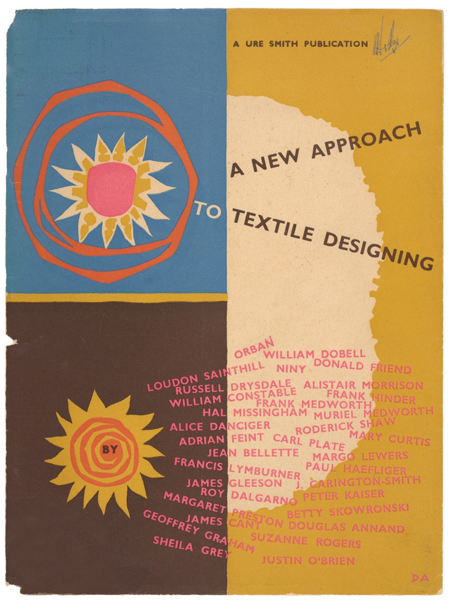 Cover of book divided into rectangle and two squares with design motifs in varied colours.