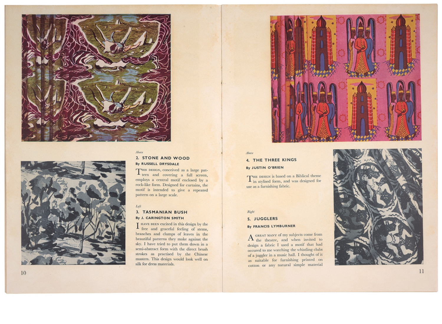 Double page spread from illustrated book with images of fabric.