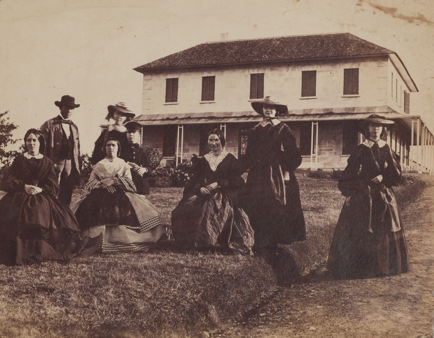 Edwin Rouse and family in front of Rouse Hill House Sept 1859