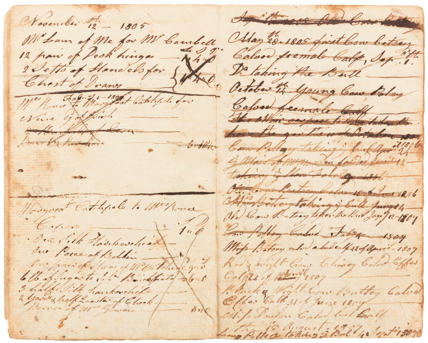 Pages of notebook from Richard Rouse and Rouse family papers: 1792-1849