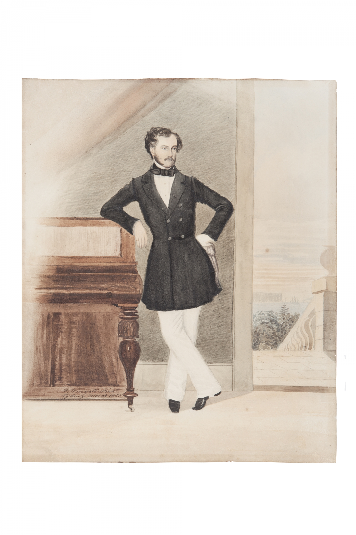 Painting of man in long dark coat and white trousers leaning on piano.