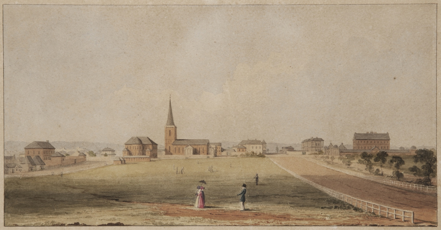 Landscape painting of a series of buildings from a distance, with a couple of figures in the wide open foreground.