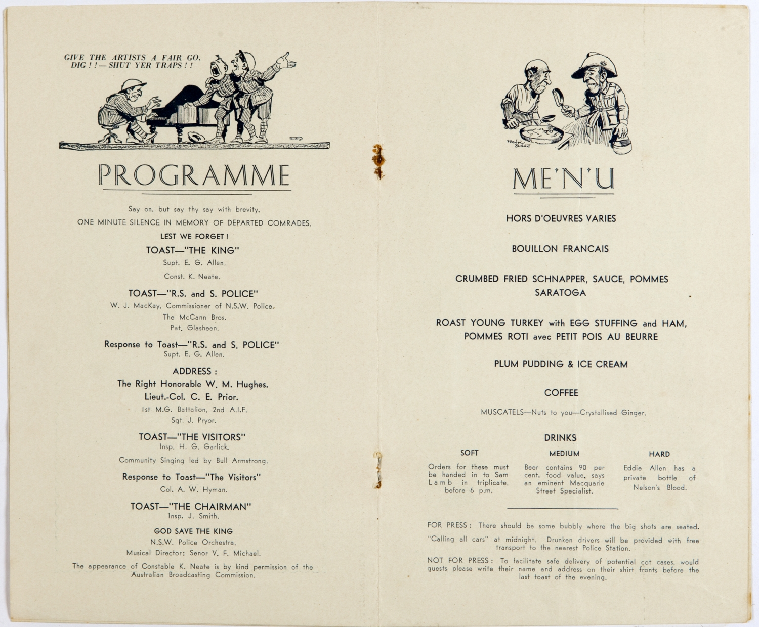 Inside pages of printed programme and menu.