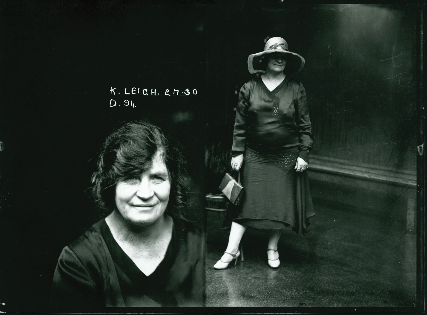 """Head shot inscribed with """"K. Leigh. 2.7.30. D. 94"""" side by side with full length portrait with hat and handbag."""