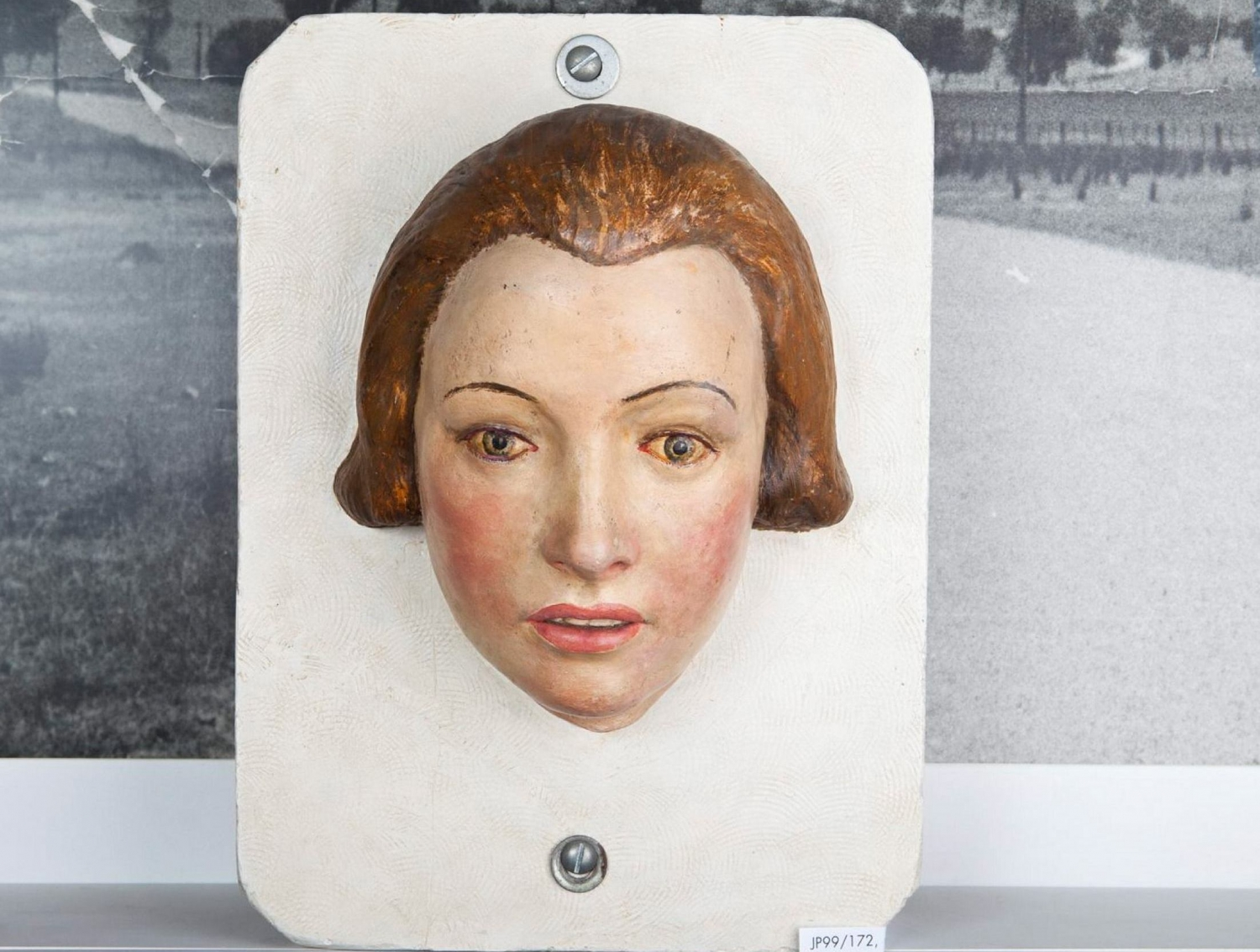 Painted plaster facial reconstruction of the Pyjama Girl, modelled by New South Wales policeman, Cecil Jardine c1938.