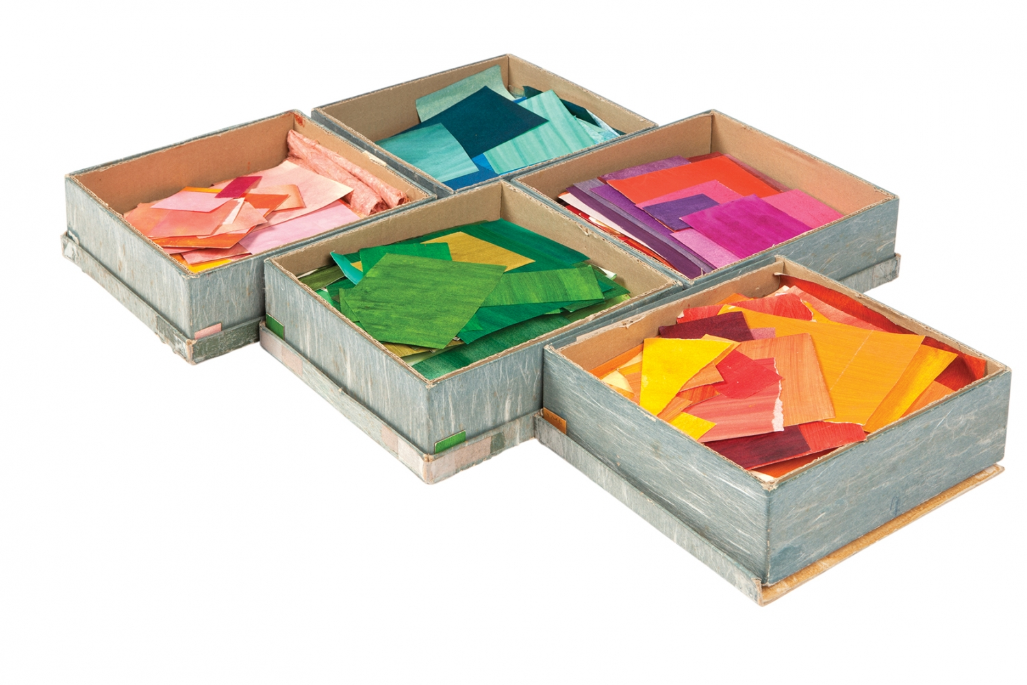 Colourful boxes with coloured paper selection.