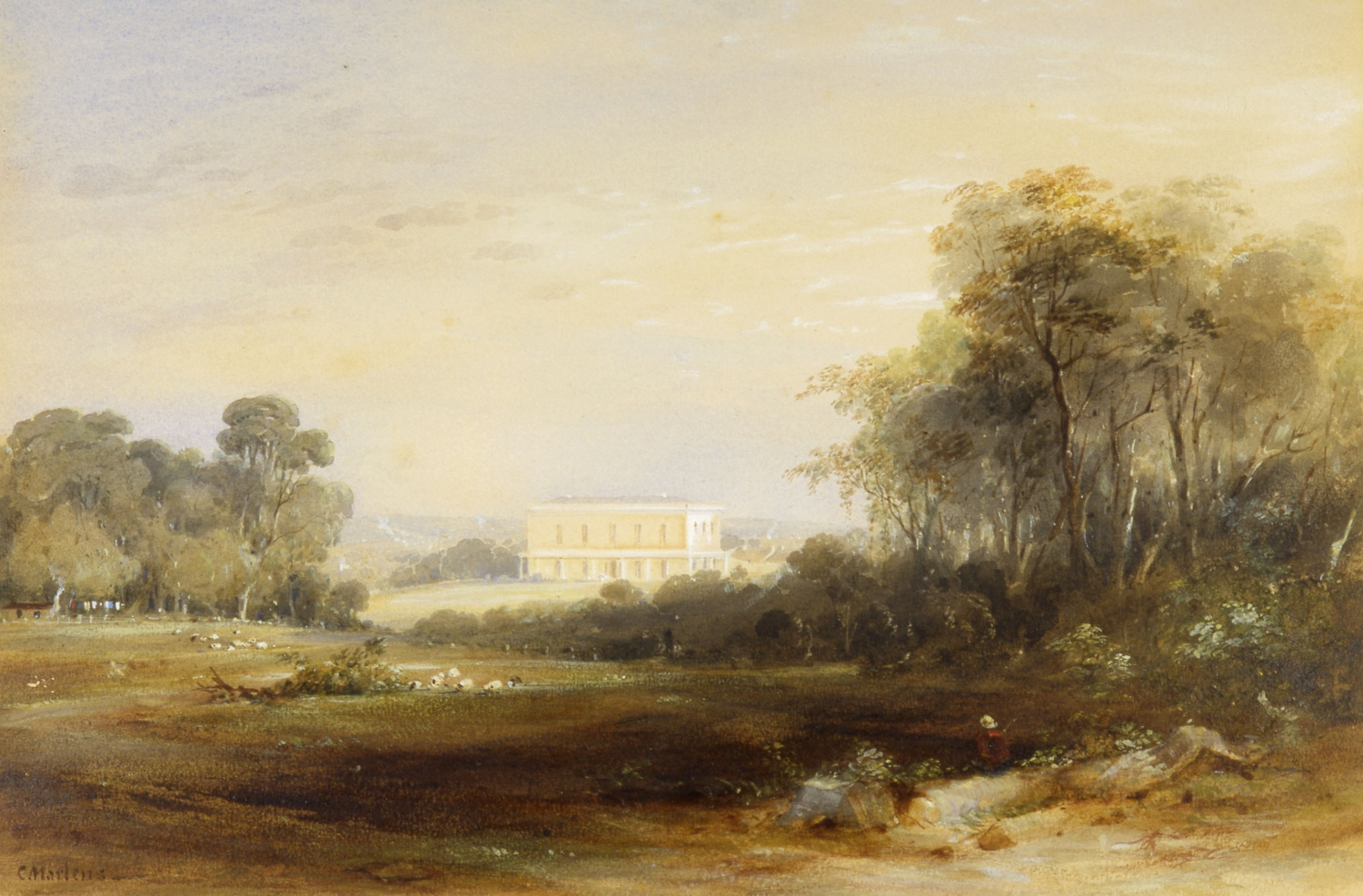 Landscape painting with large trees and open paddocks with palatial 2 storey country house in the distance and person seated on the ground in the foreground.
