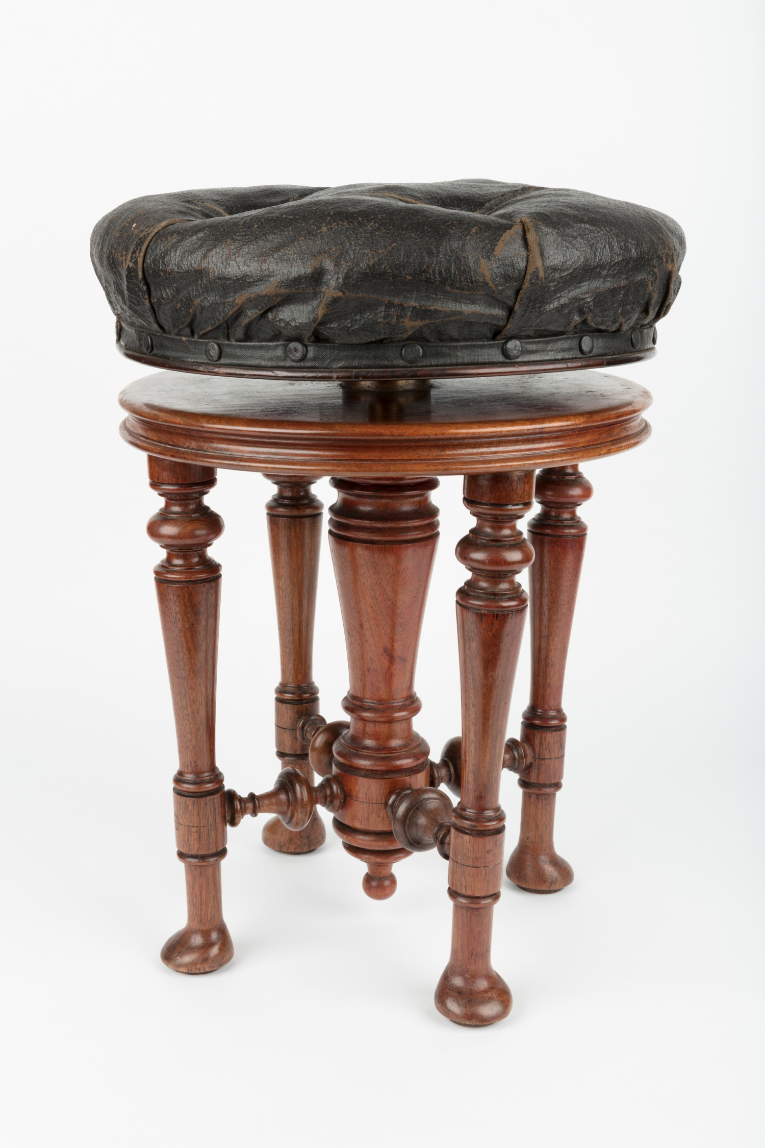 Piano stool with adjustable rising action, c1875-1900