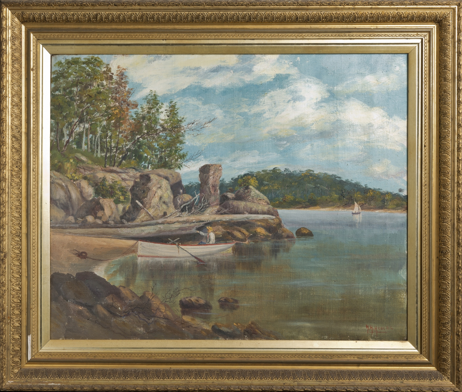Landscape painting in golden frame.