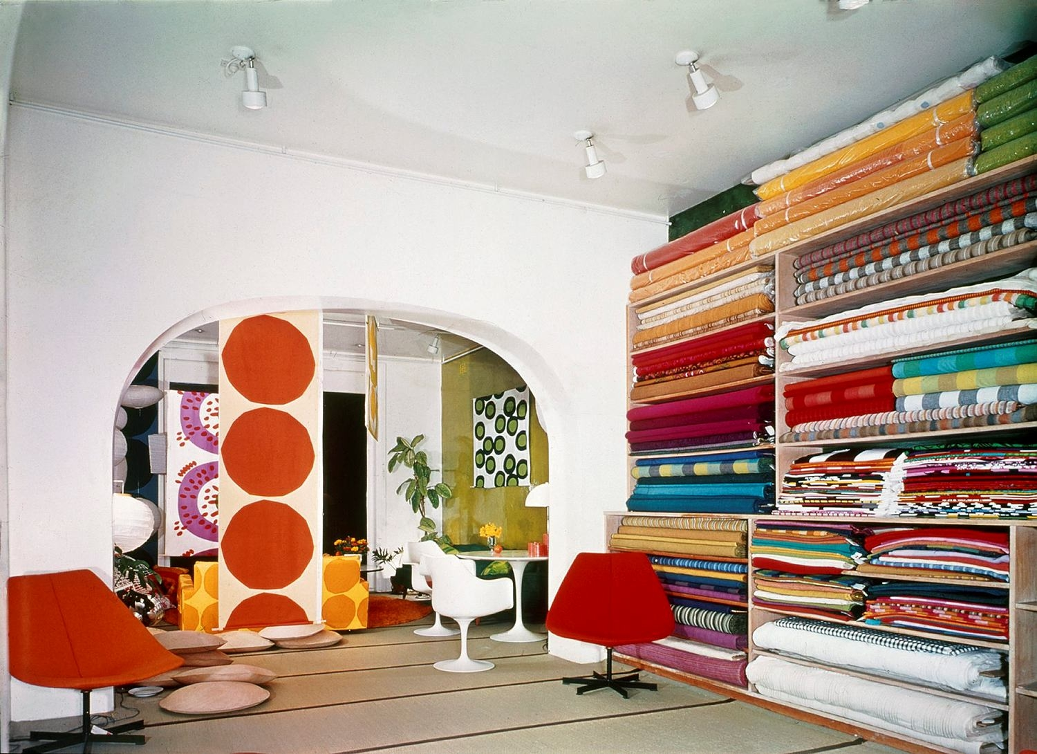 Interior with colourful textitles.