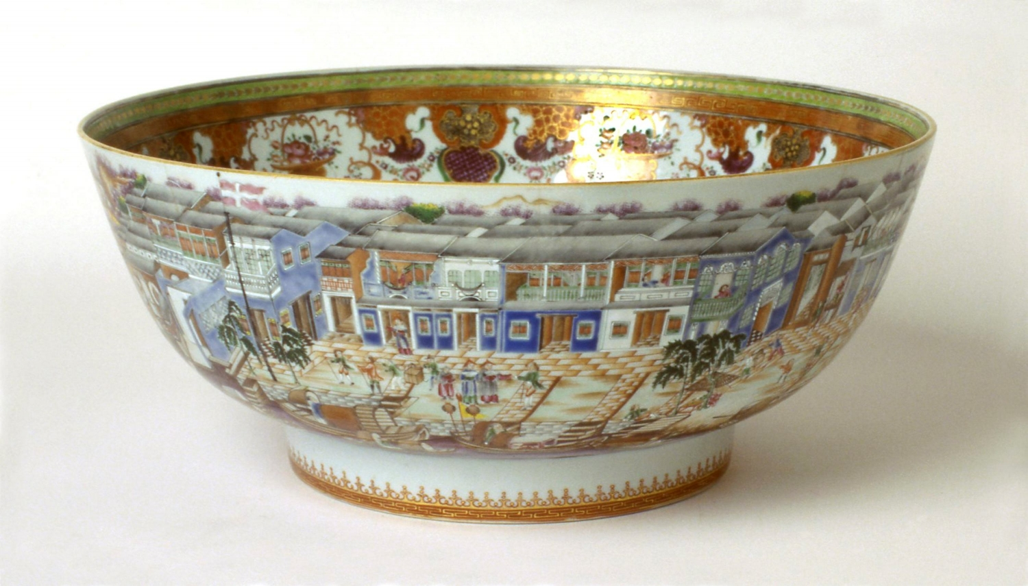 A Chinese Export 'Hong' punch bowl made in Jingdezhen, Jiangxi province, China, for a British or European market, and sold through Canton (Guangzhou), circa 1780-85.