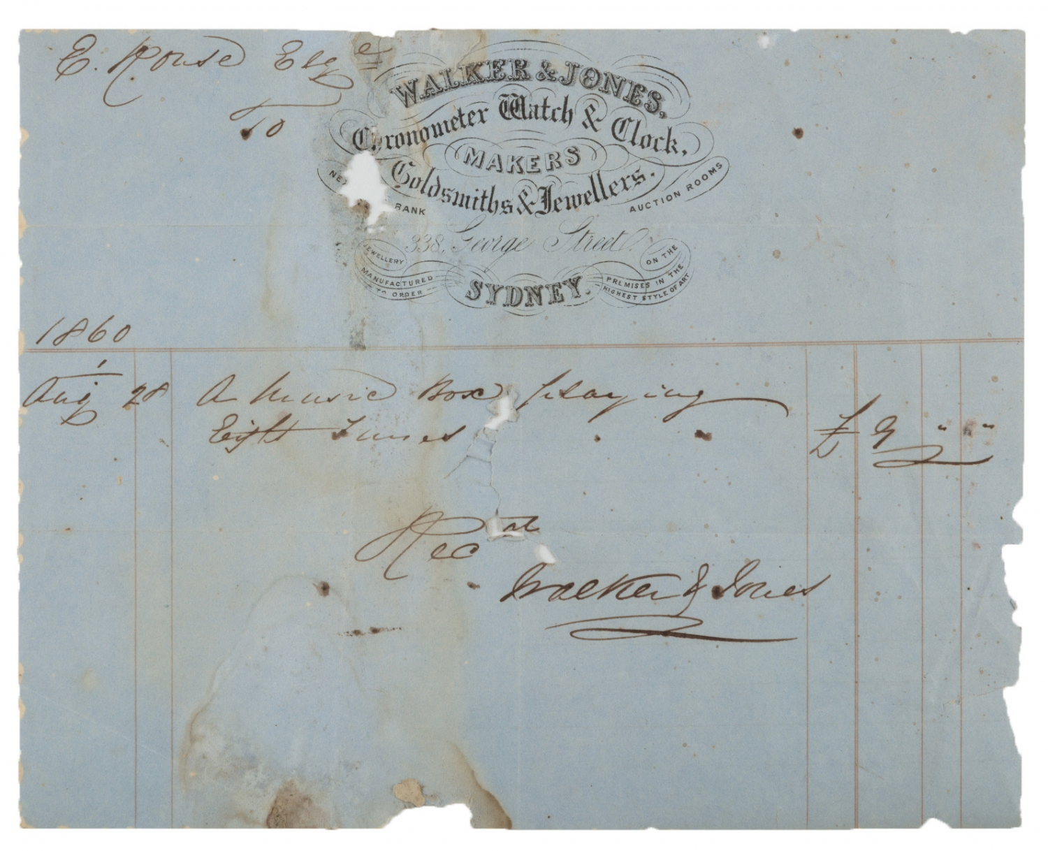 Receipt for music box 1860