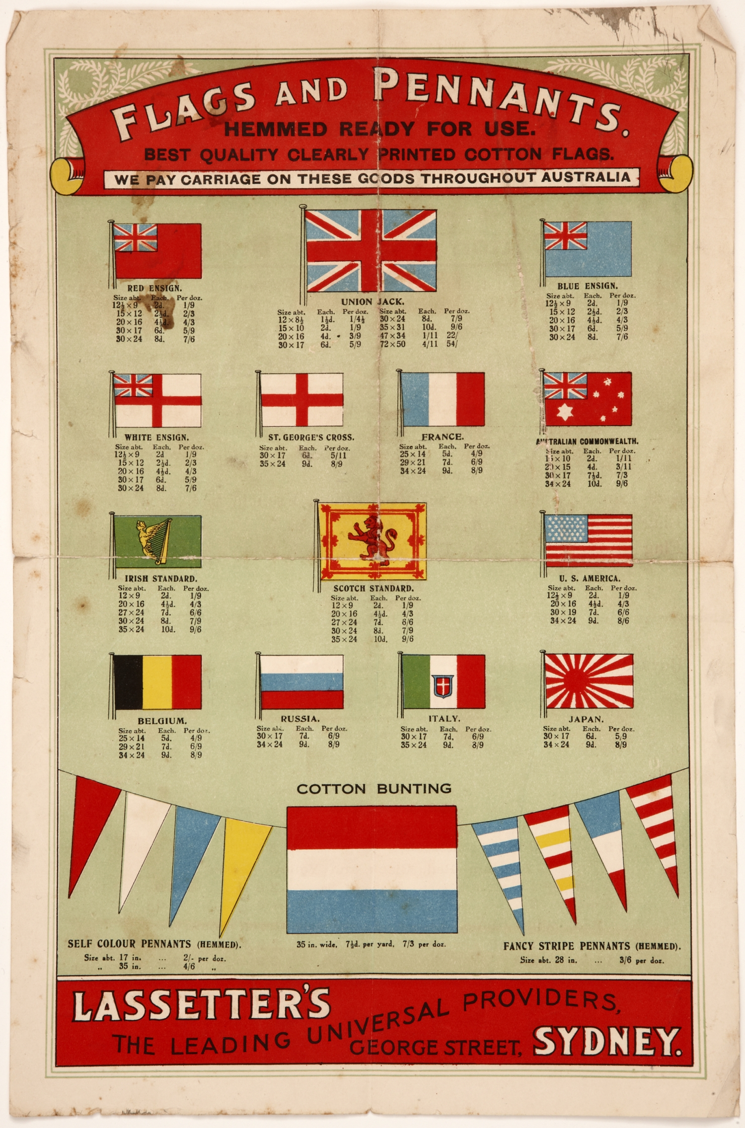 Colourful poster with range of flag options.