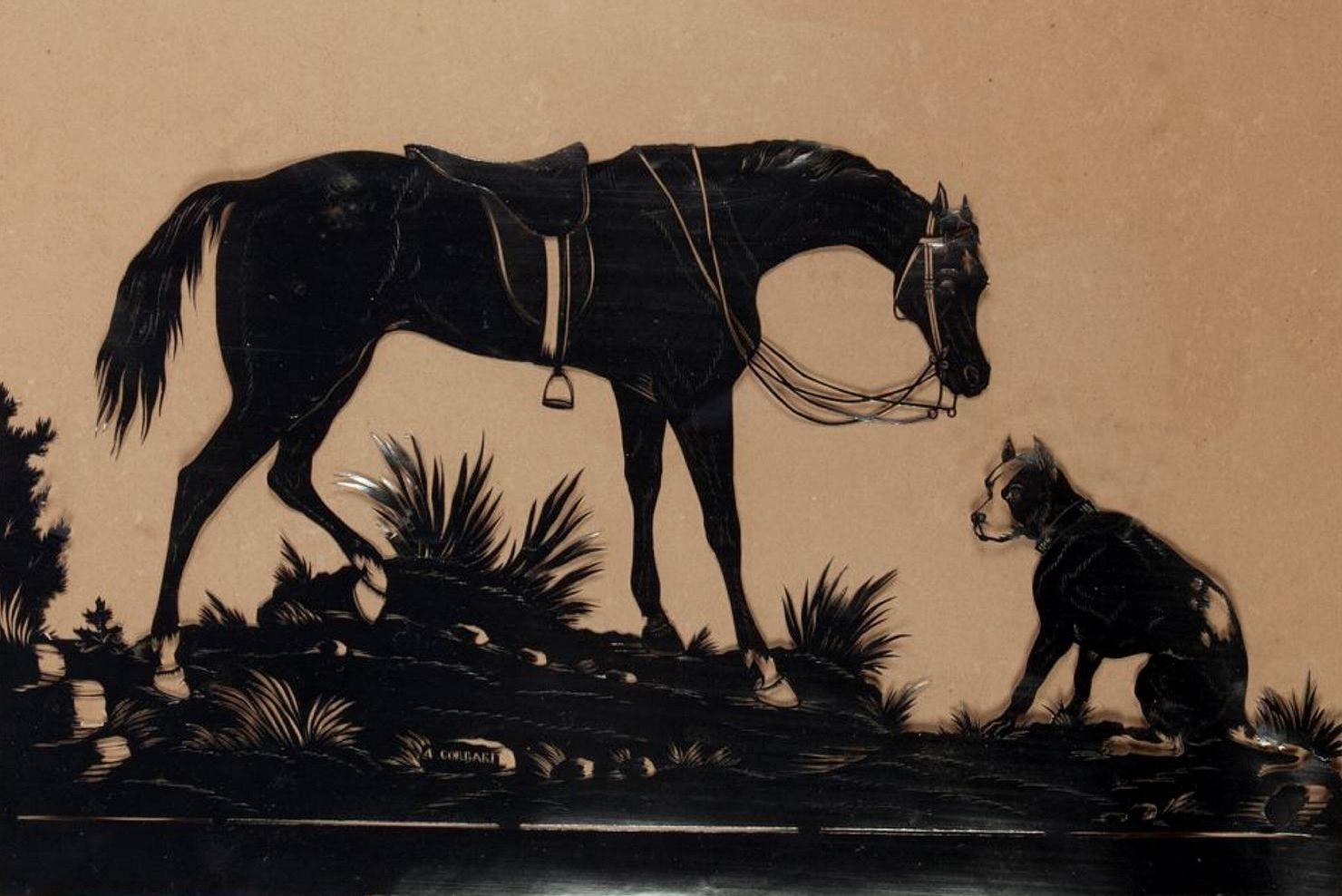 Detail of framed silhouette picture of a horse and a dog, cut in gloss black paper, hanging in the school room at Rouse Hill House. Cut by Achille Corbari, Italy c1868.