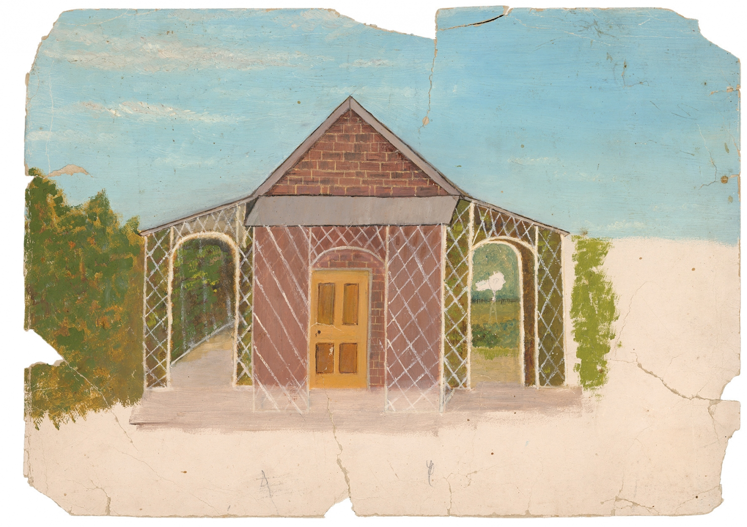 Watercolour on board, elevation of Rouse Hill bath house depicting trellis work and arches