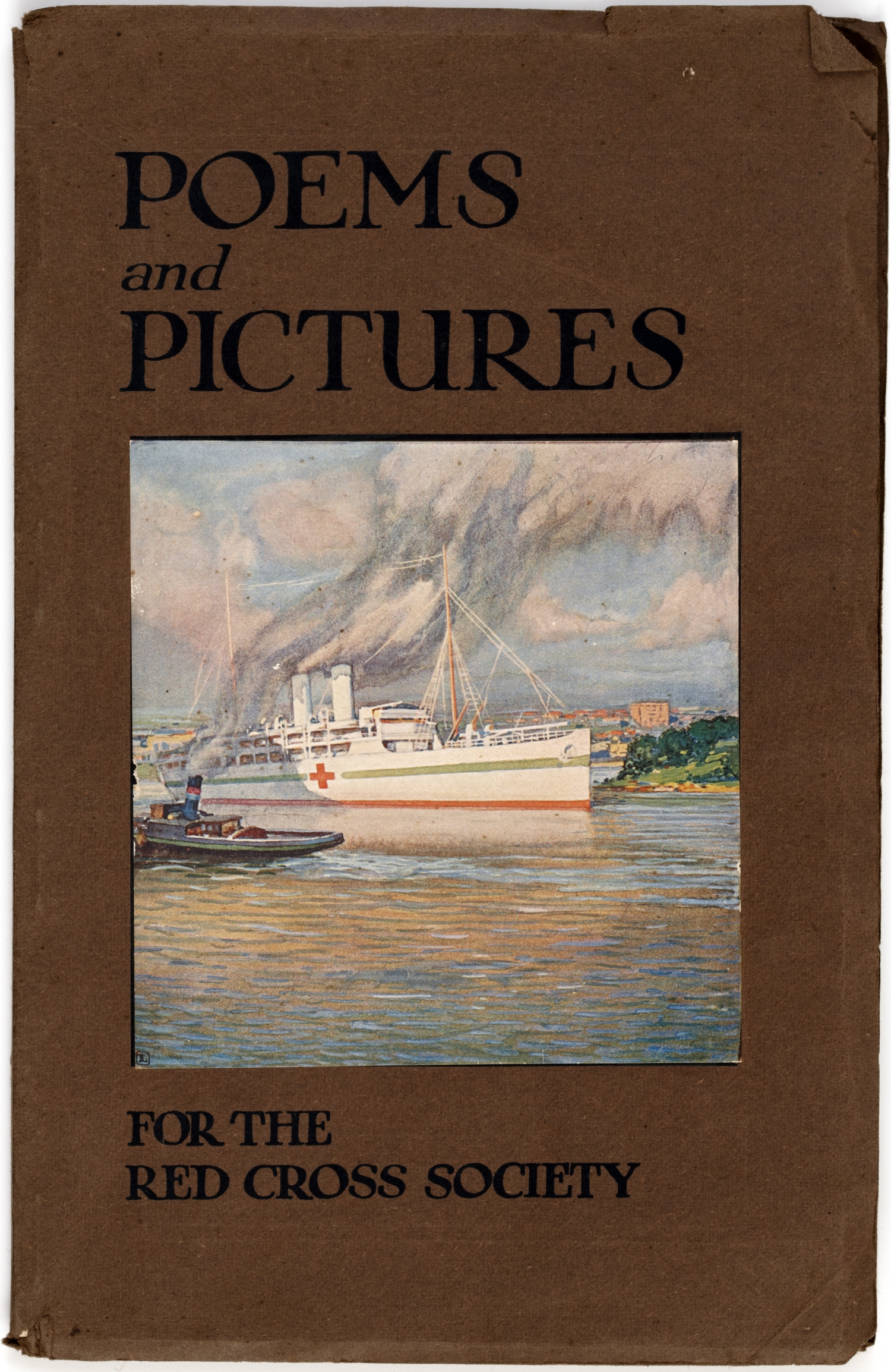 Cover taken as title page. Grey paper covers: front - title, blue lettering, above & below colour illustration of Red Cross ship in harbour; back - advertisement, blue lettering & illustration, spine - plain. Advertisement on endpapers.