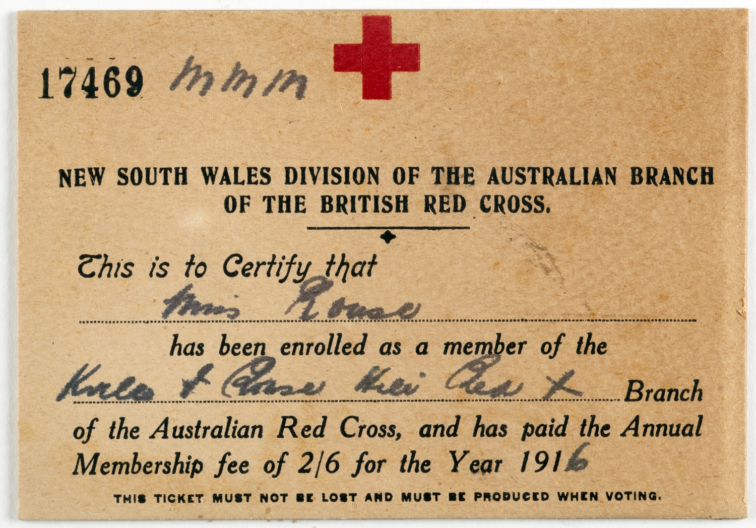 Printed certificate with red cross symbol at top and blanks filled in by hand.