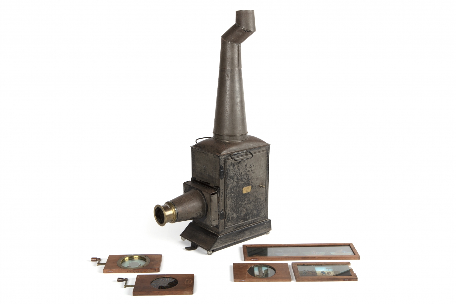 Wooden and metal projector with chimney, with wooden framed slides at base.