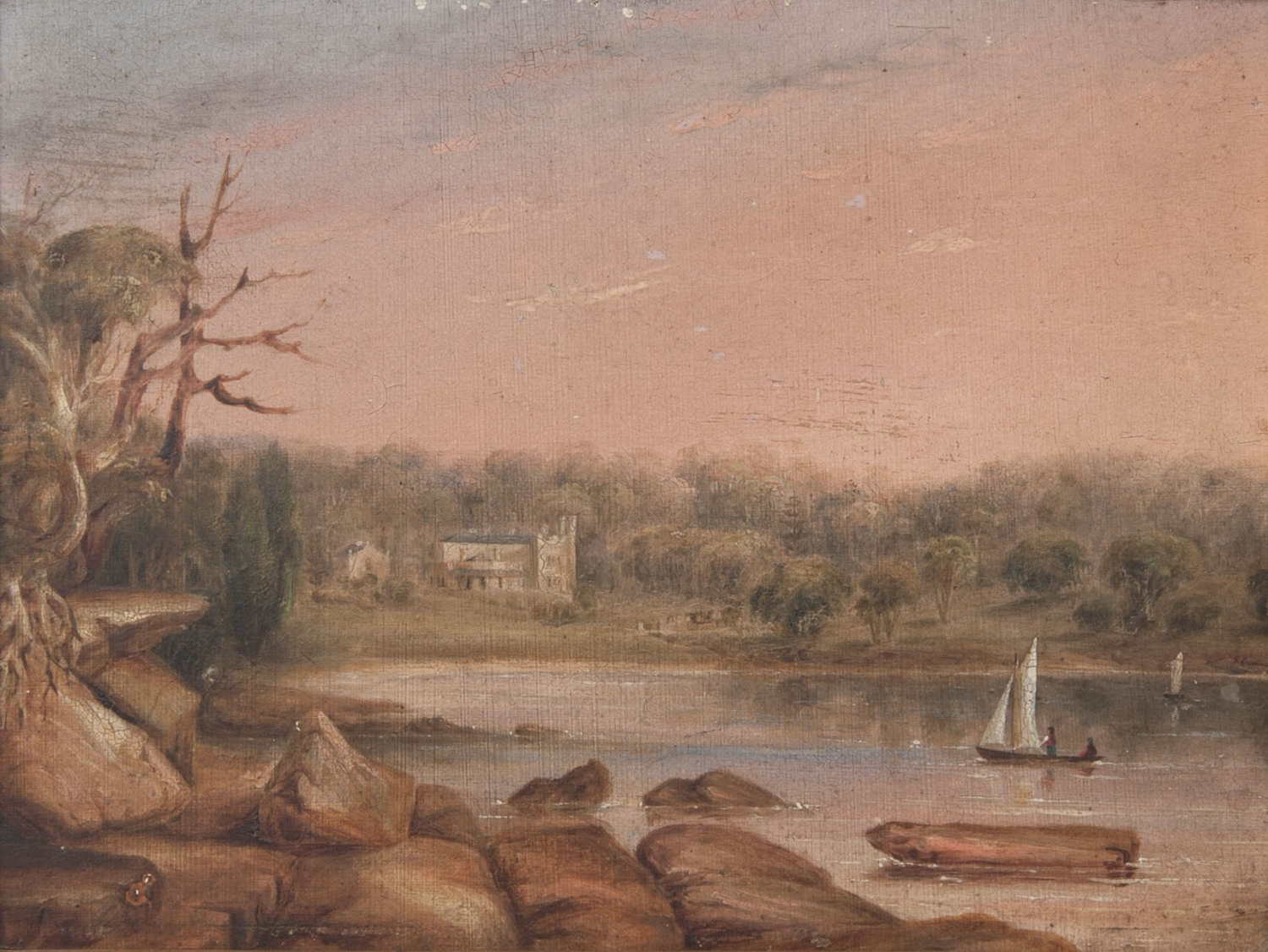 Oil on board. Foreground of rocks and water with a small sailing boat. House in background.