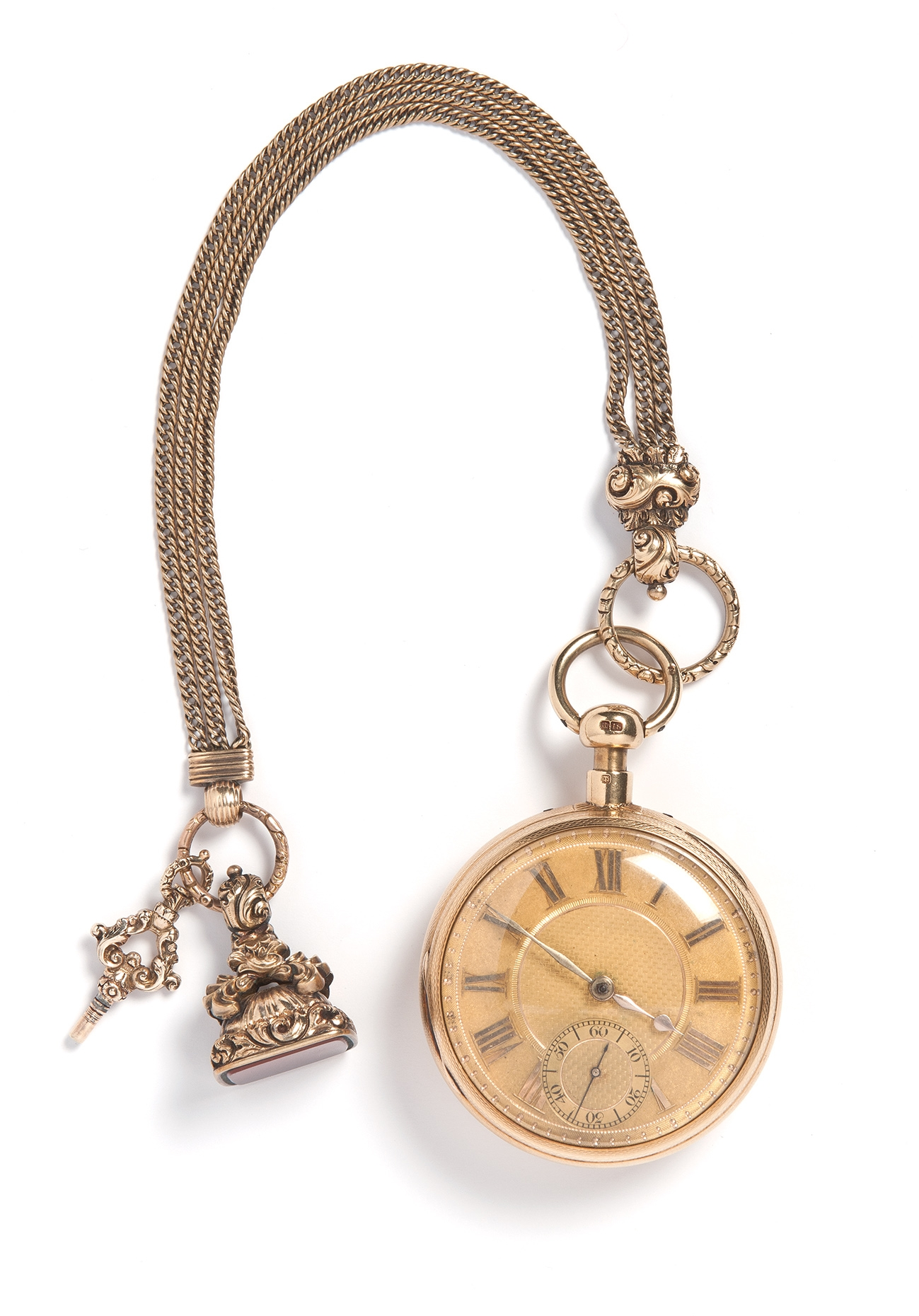 Fob watch on heavy gold chain.