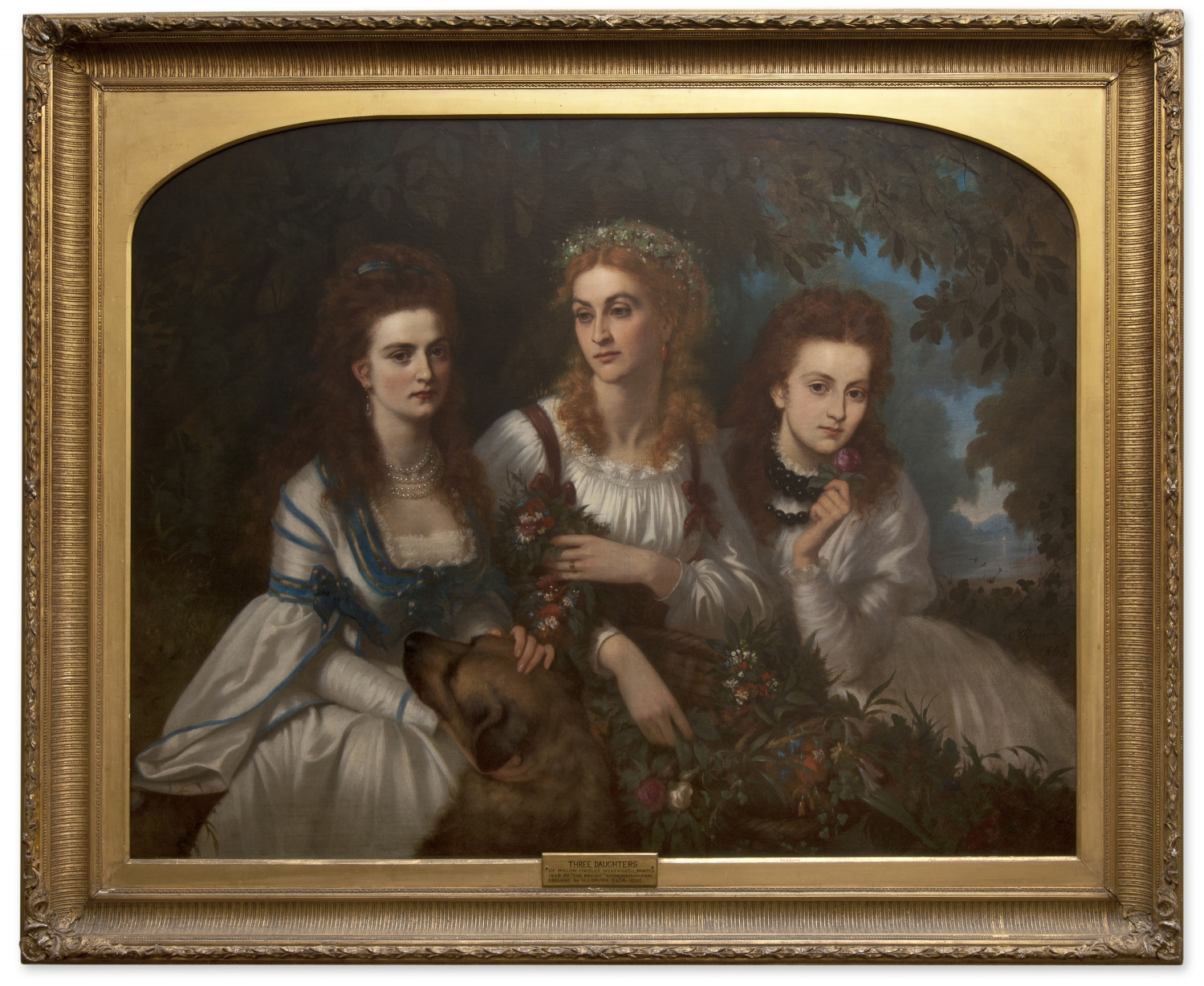 Oil painting of three women with long curly hair, the centre figure is blonde while the others have darker hair.