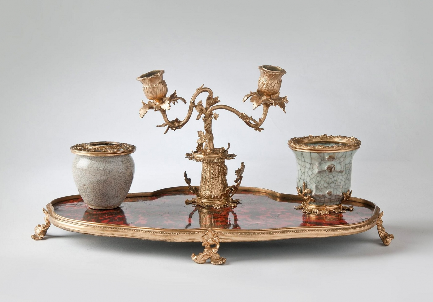 Tortoiseshell, ceramic and gilt inkstand set, made c1855, formerly the property of William Charles Wentworth.