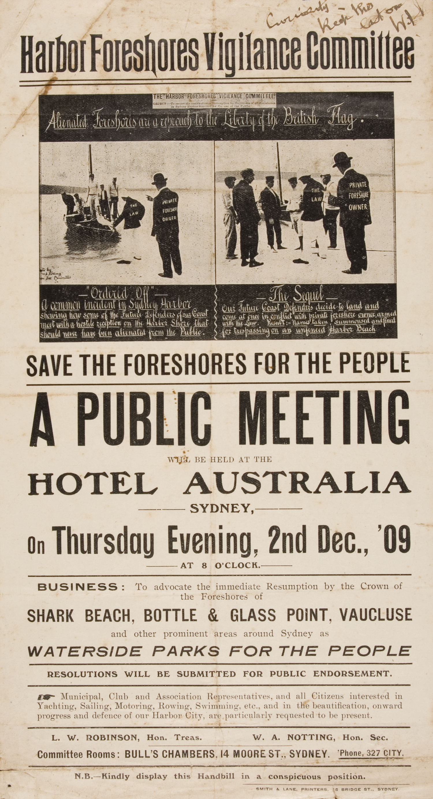 B/W printed handbill showing images of people being arrested by police for trespassing on a harbour beach.