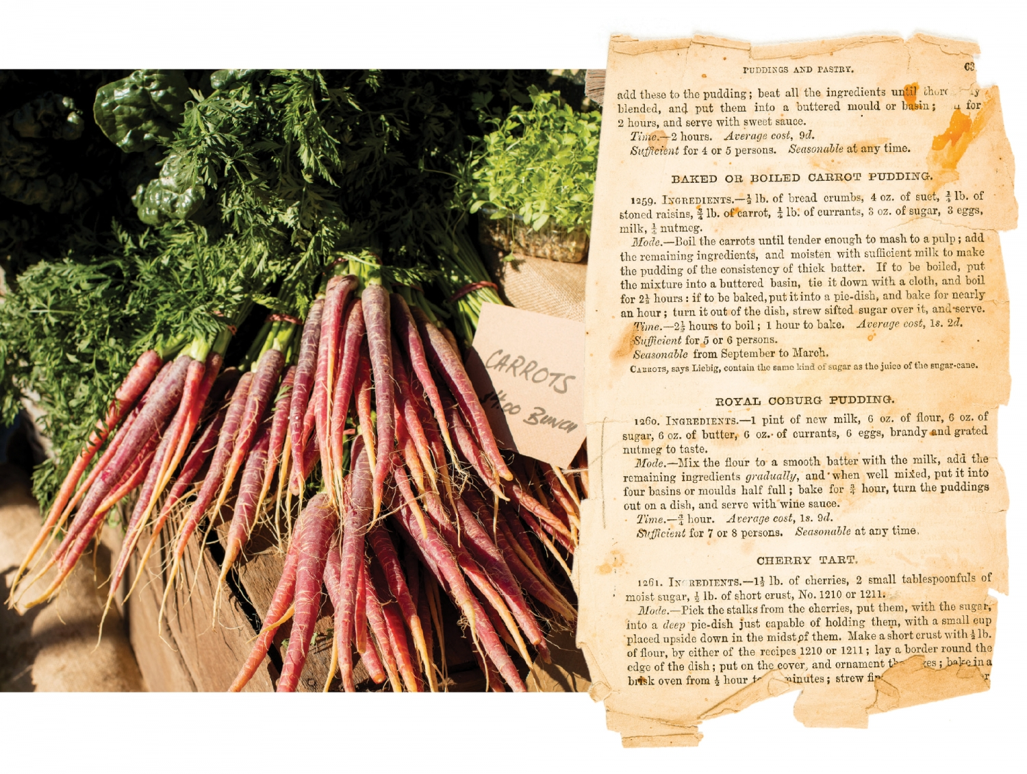 Photo of carrots overlaid with page from recipe book.