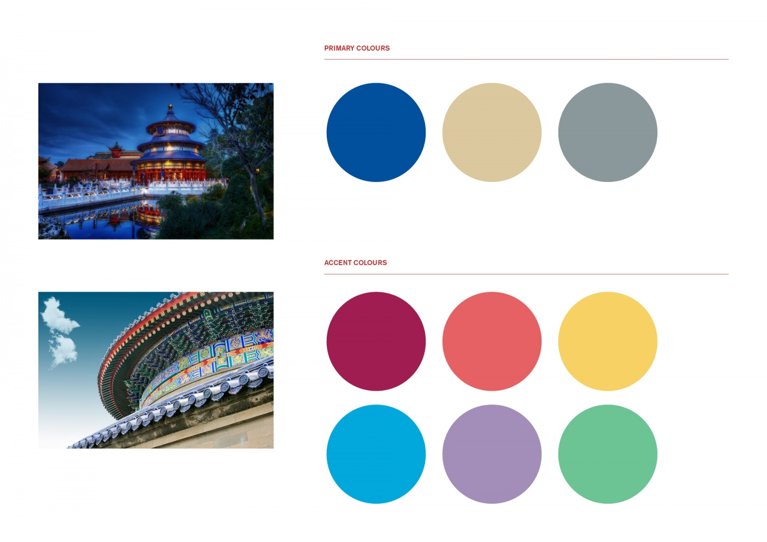 This is a collage of two colourful detailed photographs of the Temple of Heaven in Beijing on the left, and a series of circular colour samples on the right showing both primary and accent colours used