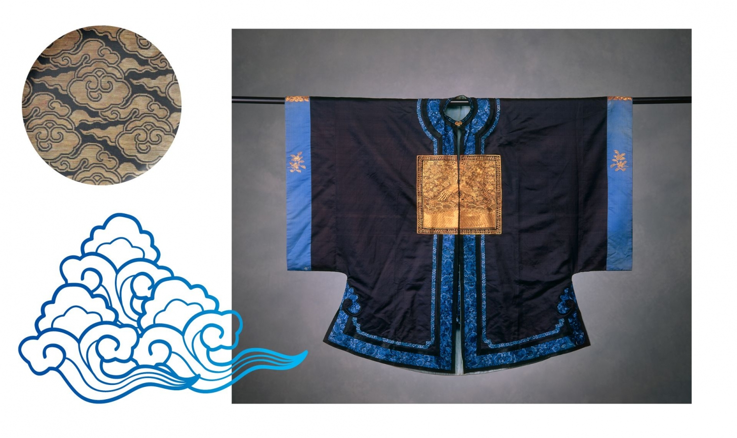 This is an image of a digital rendering of a blue outline of a cloud in the Chinese style, and photograph of a Chinese surcoat and a detail photograph of the original cloud motif from the surcoat