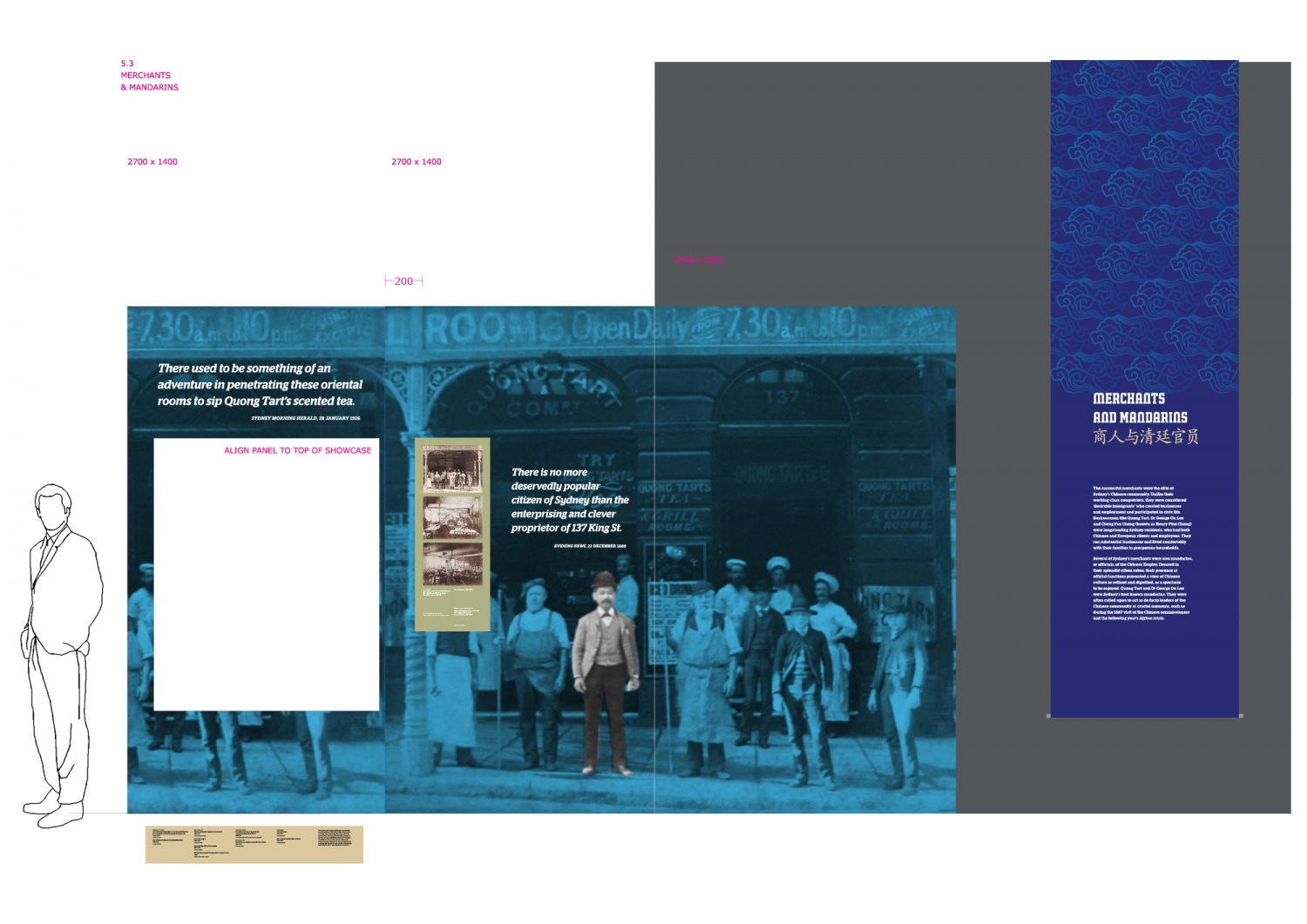 This is a digital rendering of a section of the Celestial City exhibition showing a large, flat historic photograph of people outside a tea house in Sydney with a blue hanging banner adjacent to it