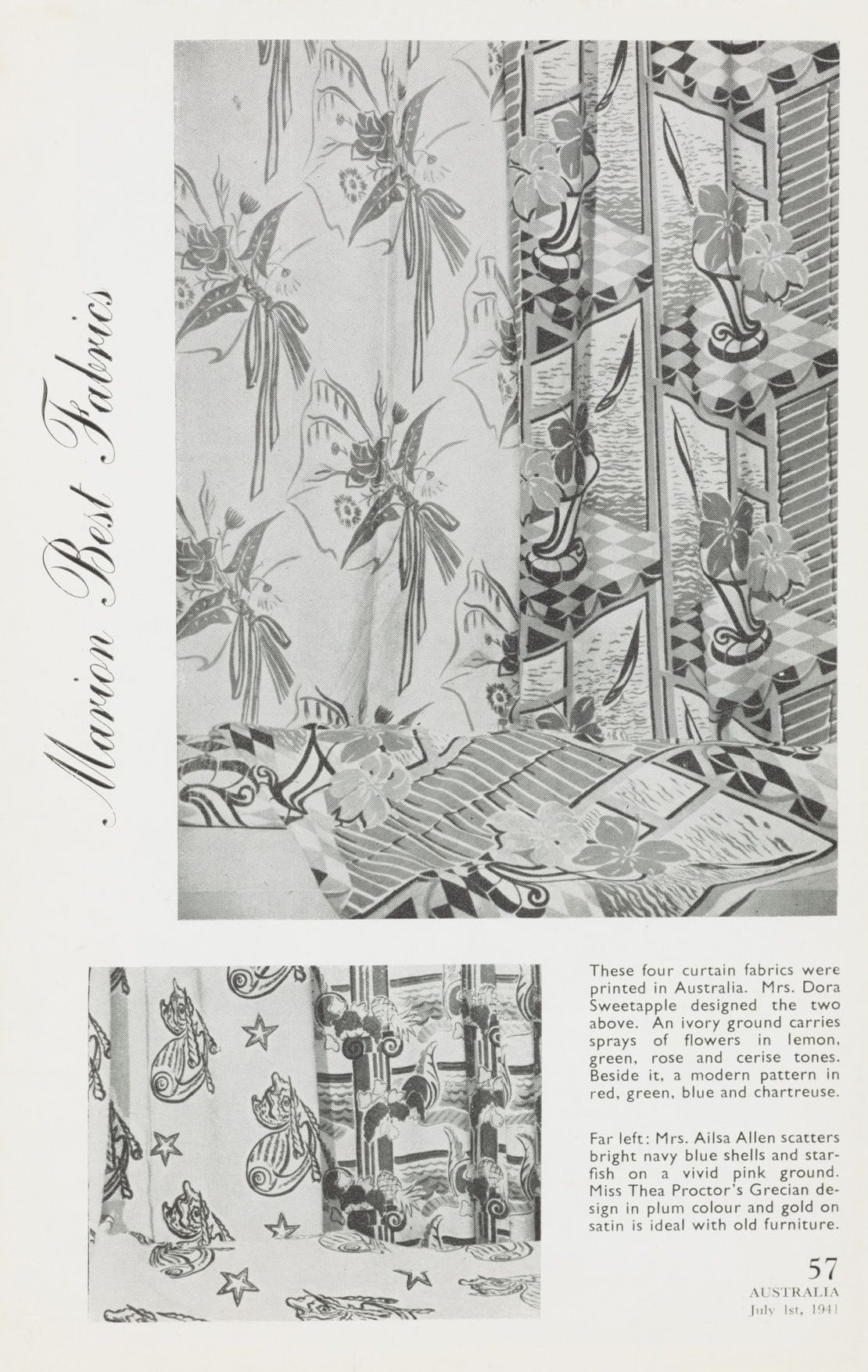 Advertisement for Marion Best Fabrics, July 1941