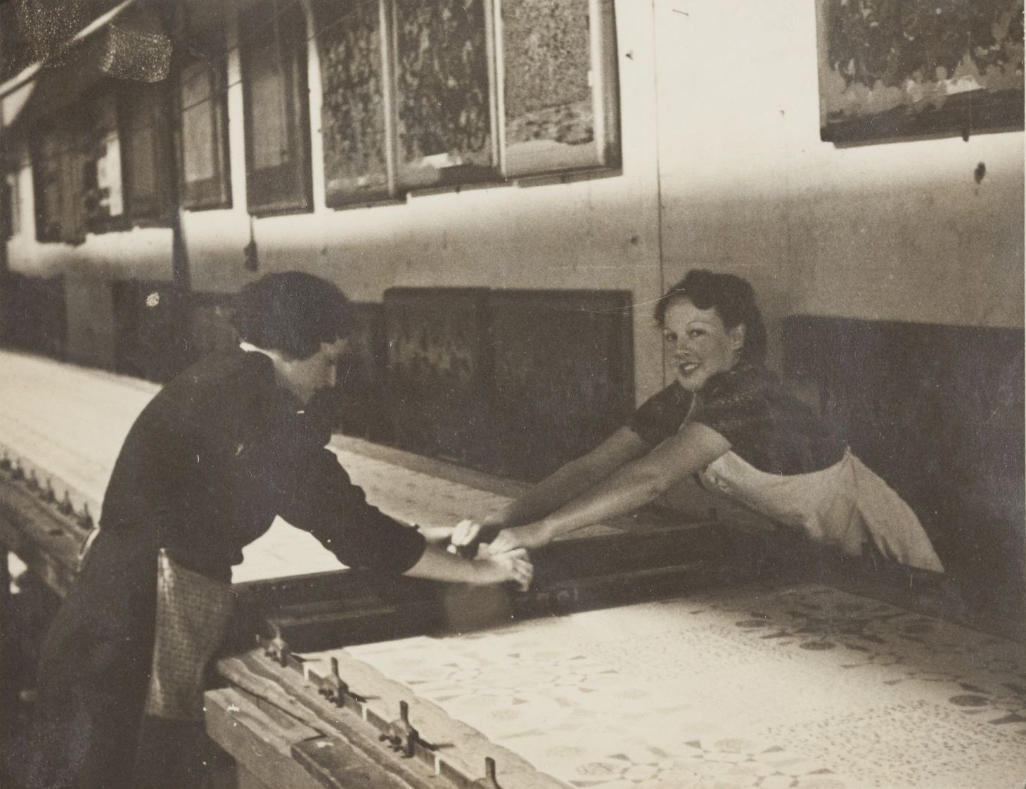 Women printing textiles at Gilkes & Co, Sydney