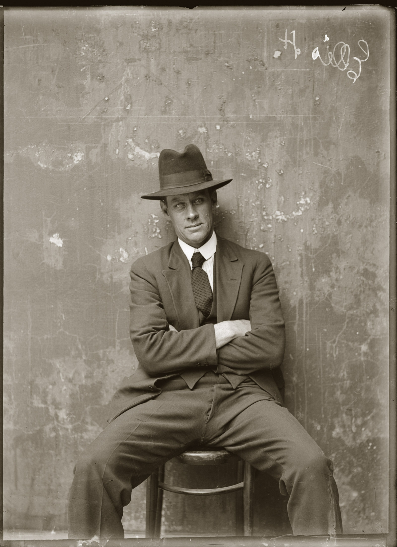 Mug shot of Herbert Ellis. Presumed Central Police Station, Sydney, ca.1920.